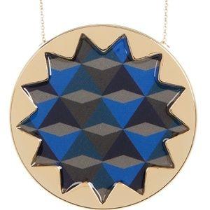 House of Harlow Blue Sunburst Pendant Necklace